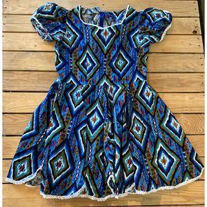 VTG Handmade Geometric Print Knee Length Dress M